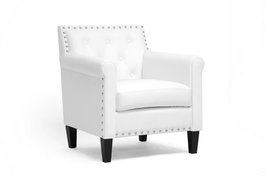 Baxton Studio Thalassa White Modern Arm Chair - IEBBT5114-White-CC