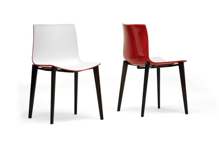 Baxton Studio Soren White And Red Modern Dining Chair Set Of 2 Iedc
