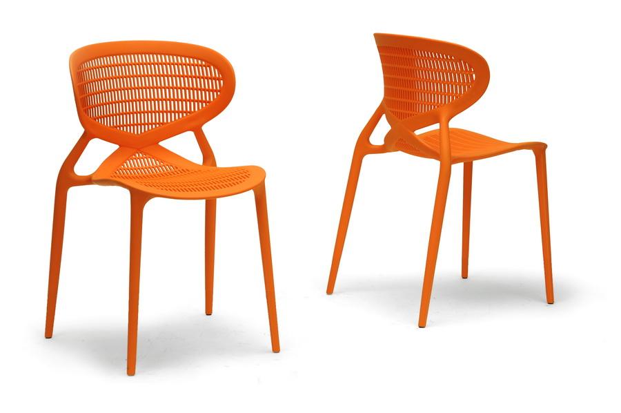 Baxton Studio Neo Orange Plastic Modern Dining Chair Set Of 2  IEDC