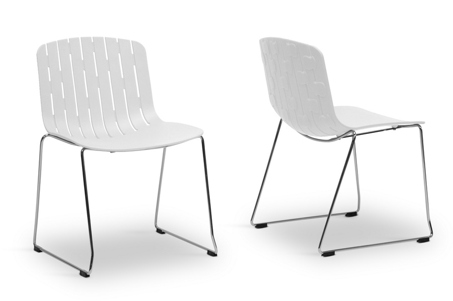 Ximena White Plastic Modern Dining Chair Set Of 2