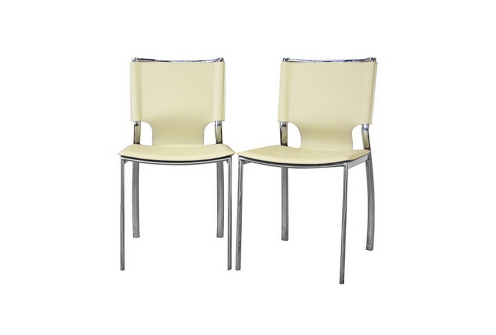 Miraculous Montclare Ivory Leather Modern Dining Chair Set Of 2 Bralicious Painted Fabric Chair Ideas Braliciousco