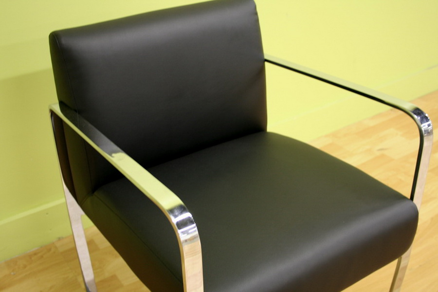 Meg Black Leather With Silver Metal Legs Arm Chair