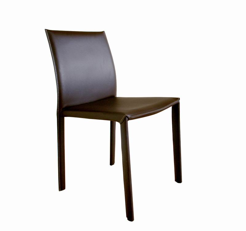 crawford brown leather dining chair with brown leather legs set of 2 - Leather Dining Room Chairs
