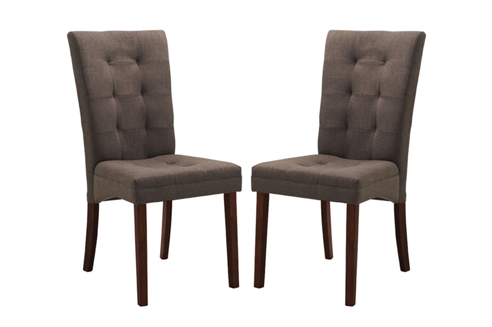 Baxton studio anne brown fabric modern dining chair for Upholstery fabric for dining room chairs