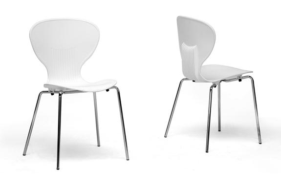 Boujan White Plastic Modern Dining Chair Interior Express