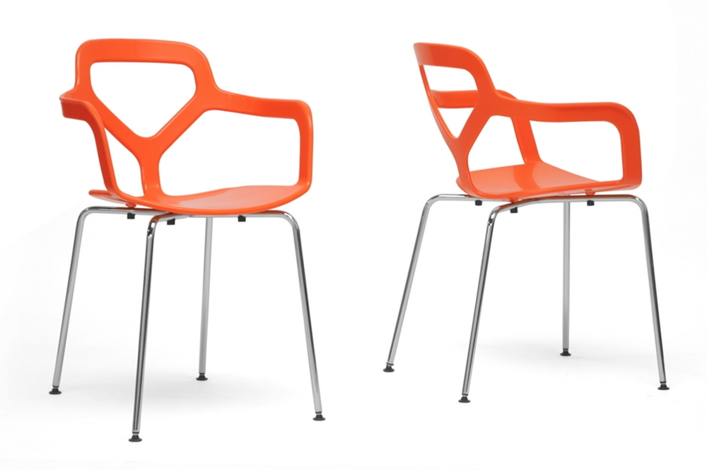 Baxton Studio Miami Orange Plastic Modern Dining Chair Set Of 2 Interior
