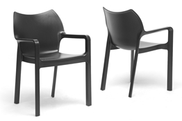 Baxton Studio Limerick Black Plastic Stackable Modern Dining Chair (Set of 2) Baxton Studio Limerick Black Plastic Stackable Modern Dining Chair (Set of 2), BSDC-671-Black (2)