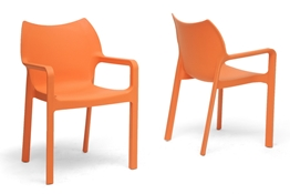 Baxton Studio Limerick Orange Plastic Stackable Modern Dining Chair (Set of 2) Baxton Studio Limerick Orange Plastic Stackable Modern Dining Chair (Set of 2), BSDC-671-Orange (2)