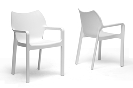 Baxton Studio Limerick White Plastic Stackable Modern Dining Chair (Set of 2) Baxton Studio Limerick White Plastic Stackable Modern Dining Chair (Set of 2), BSDC-671-White (2)