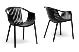 Baxton Studio Grafton Black Plastic Stackable Modern Dining Chair  (Set of 2) Baxton Studio Grafton Black Plastic Stackable Modern Dining Chair  (Set of 2), BSDC-751-black (2)