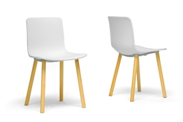 Baxton Studio Lyle White Plastic Modern Dining Chair  (Set of 2) Baxton Studio Lyle White Plastic Modern Dining Chair  (Set of 2), BSDC-782-White (2)