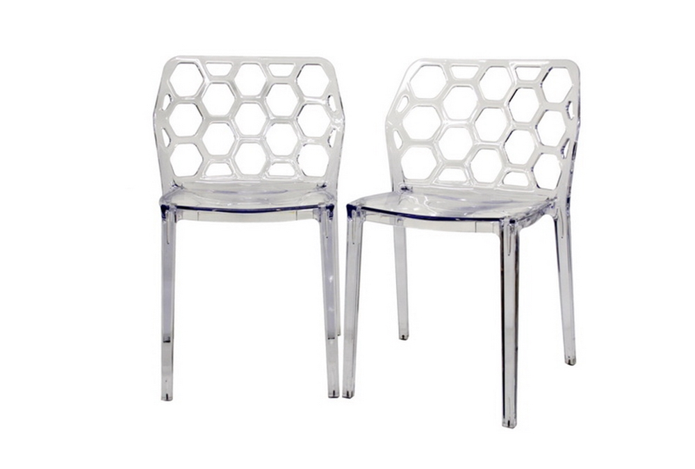 Honeycomb Clear Acrylic Modern Dining Chair Set Of 2 Interior Express