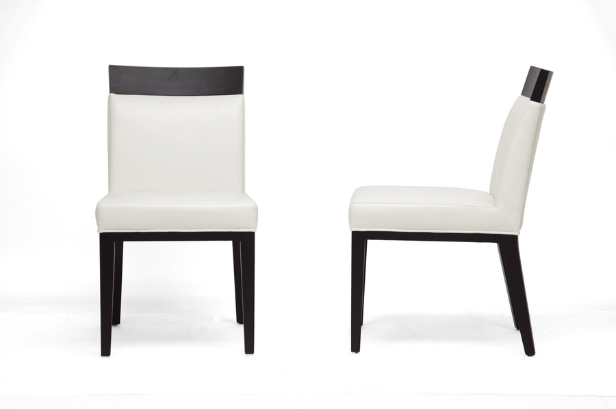 and cream leather modern dining chair set of 2 iey 1012 du8143 2