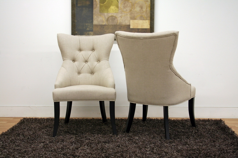 Daphne neutral linen fabric modern dining chair set of 2 interior express - Stylish modern dining sets for neutral toned interior ...