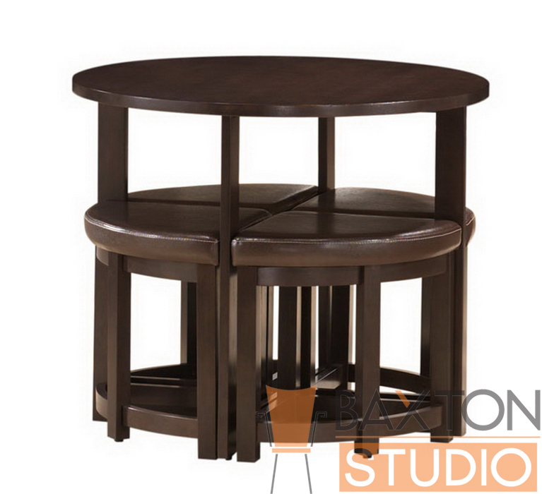 Baxton Studio Rochester Brown Modern Bar Table Set With Nesting Stools Iert 130 Pub