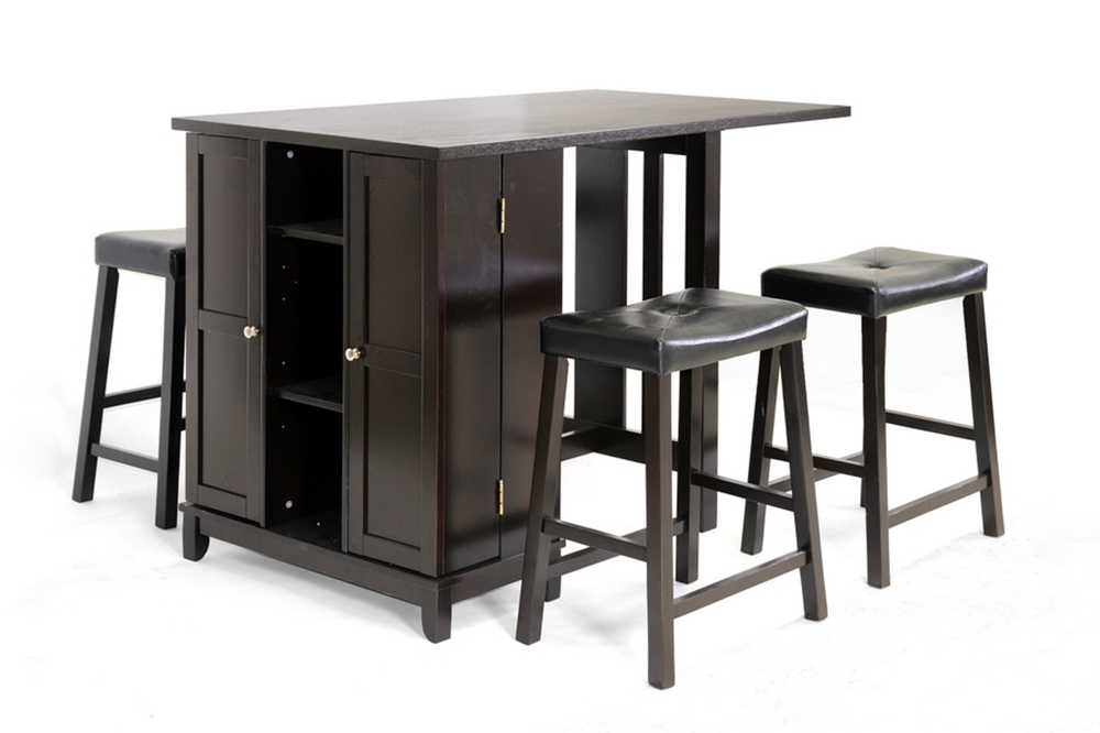 Baxton Studio Aurora 5 Piece Dark Brown Modern Pub Table Set With Cabinet Base