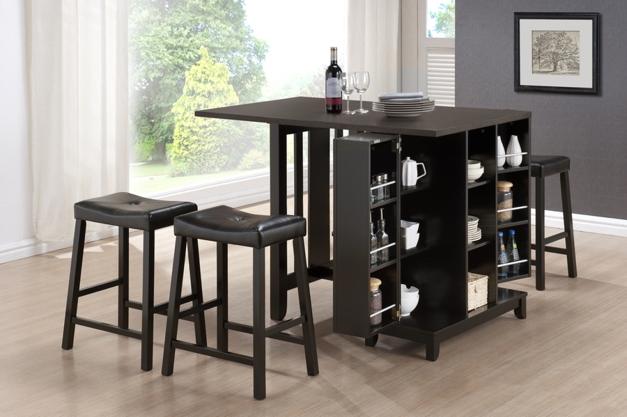 ... Baxton Studio Aurora 5 Piece Dark Brown Modern Pub Table Set With  Cabinet Base ...