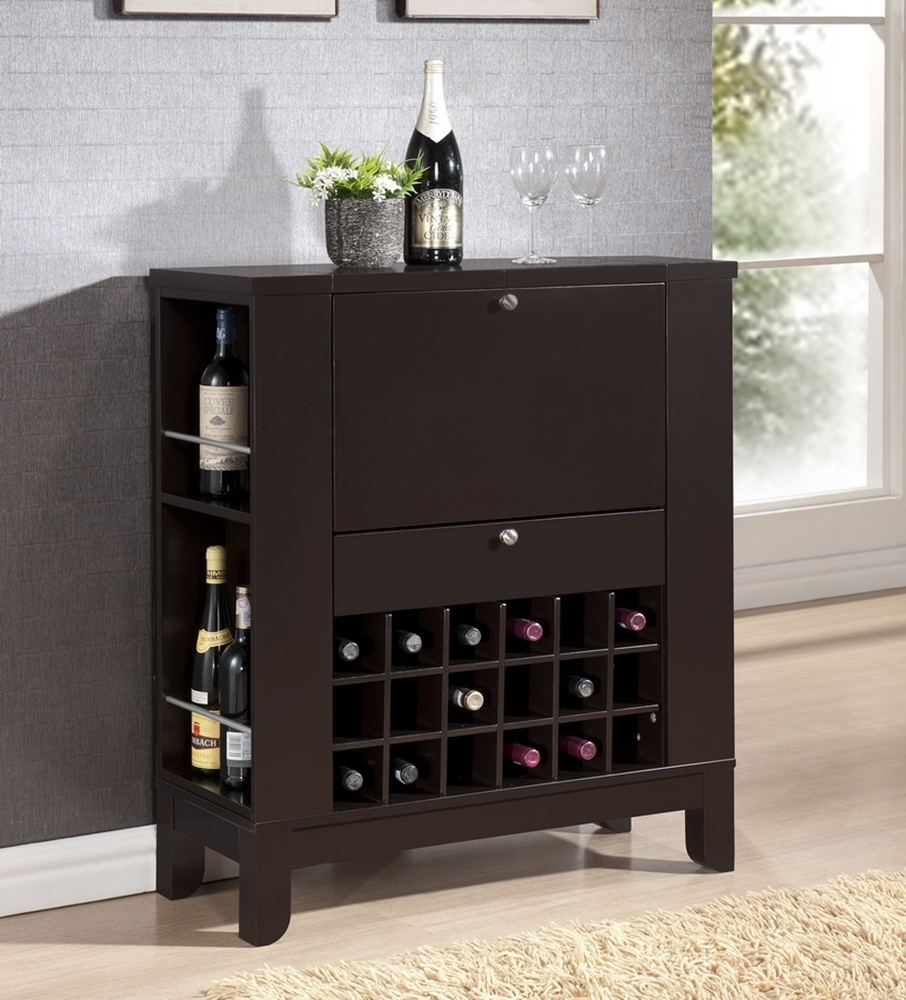 Modesto Brown Modern Dry Bar And Wine Cabinet Interior
