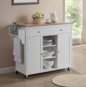 Baxton Studio Denver White Modern Kitchen Cart with Butcher Block Top Dining Room Furniture ...