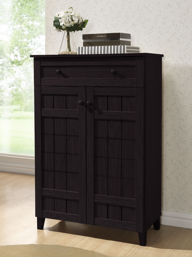 Baxton Studio Glidden Dark Brown Wood Modern Shoe Cabinet