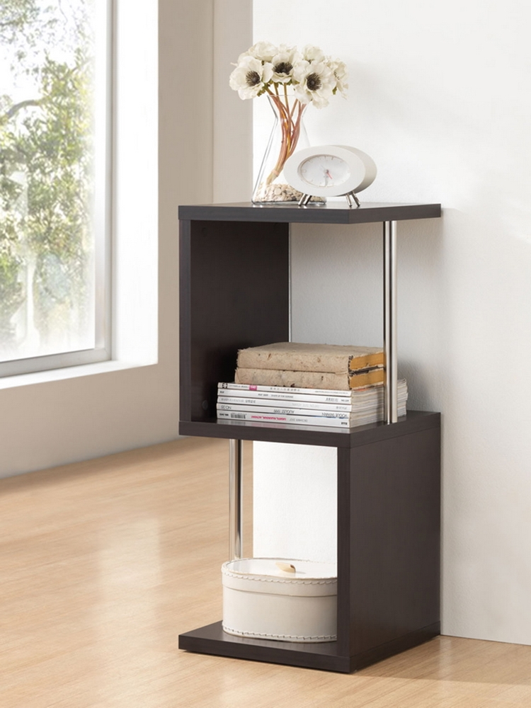 Baxton studio lindy dark brown modern display shelf 2 for Contemporary display shelves