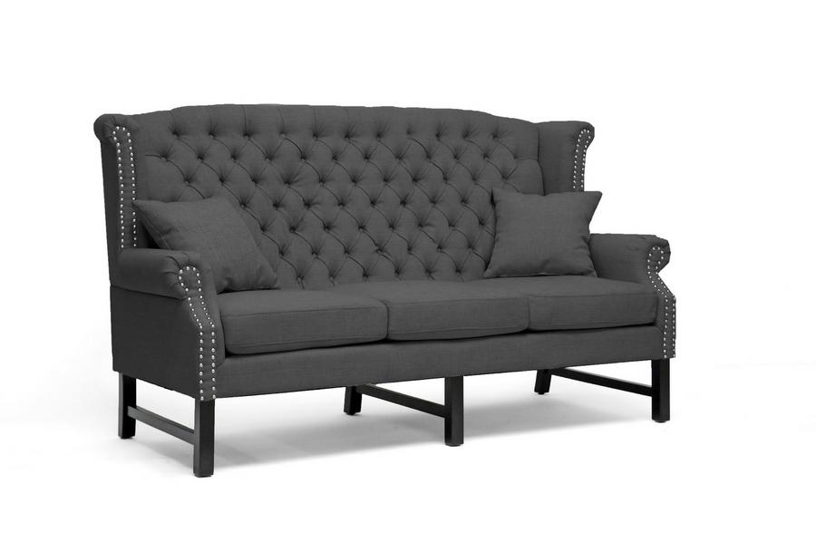 Baxton Studio Sussex Dark Gray Linen Sofa - IEBH-63102-3S-Grey