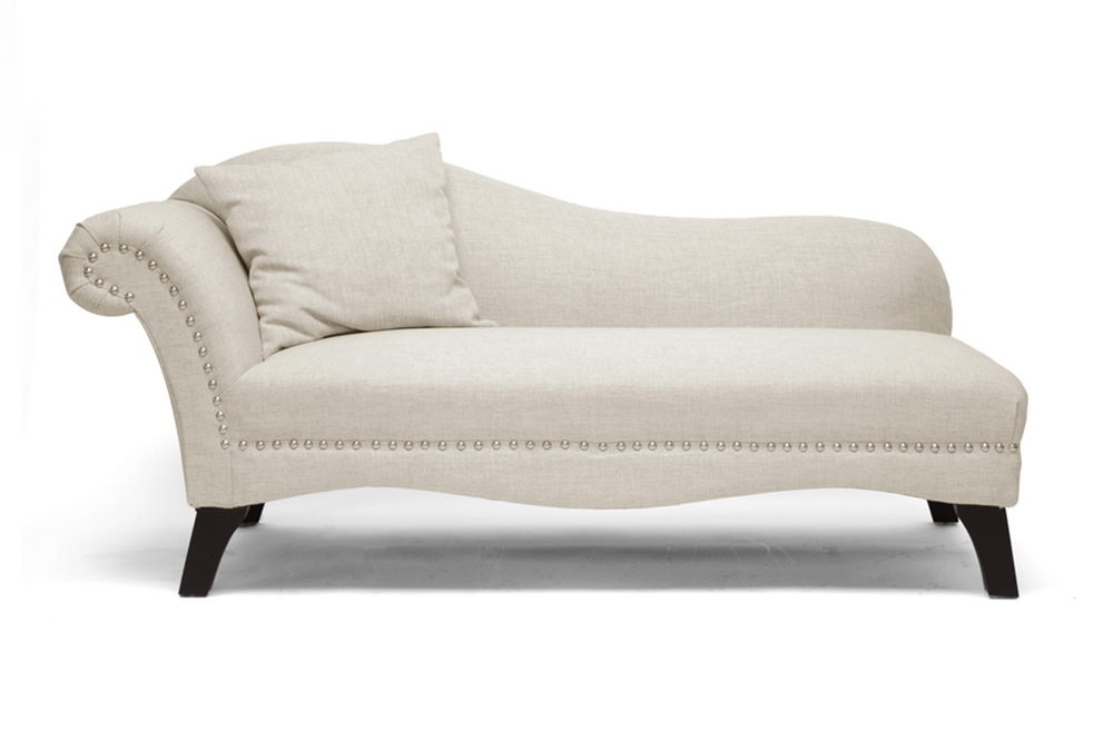 Chaise Lounge Chairs For Living Room: Phoebe Beige Linen Modern Chaise Lounge