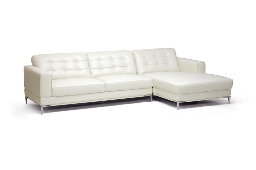 Babbitt ivory leather modern sectional sofa interior express for Sofa express leather sectional