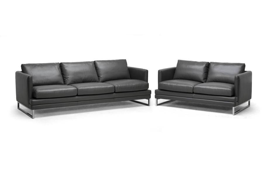 Baxton Studio Dakota Pewter Gray Leather Modern Sofa Set - IE1378-DU8145 LS  (1
