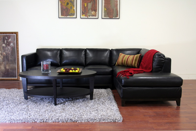 Rohn Black Leather Modern Sectional Sofa | Interior Express