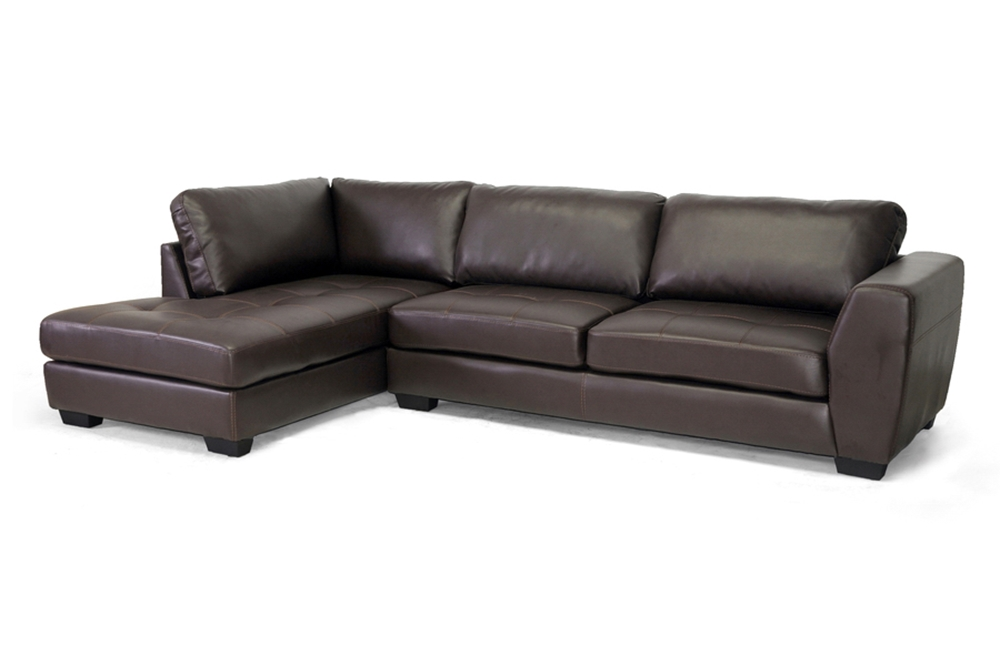 Baxton Studio Orland Brown Leather Modern Sectional Sofa Set with ...