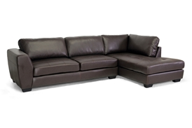 Baxton Studio Orland Brown Leather Modern Sectional Sofa Set with Right Facing Chaise Baxton Studio Orland Brown Leather Modern Sectional Sofa Set with Right Facing Chaise, BSIDS023-SEC-LTB01-Brown RFC