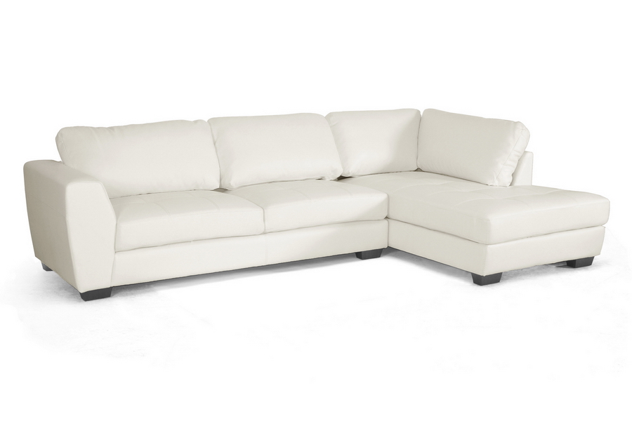 Baxton Studio Orland White Leather Modern Sectional Sofa Set With Right Facing Chaise Ieids023