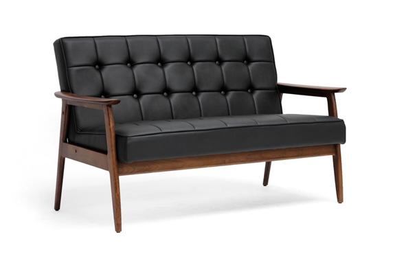 Baxton Studio Stratham Black Mid Century Modern Sofa Interior Express