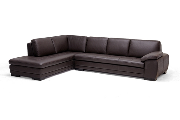 Diana Brown Leather Sectional Sofa With Chaise On The Left