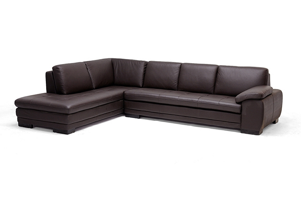 Diana brown leather sectional sofa with chaise on the left for Brown leather chaise end sofa