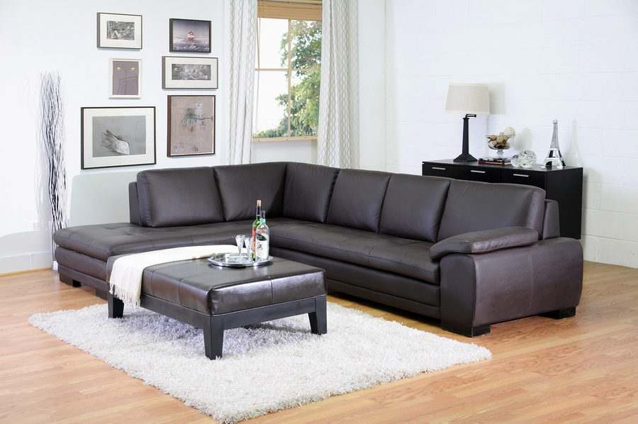 ... Diana Dark Brown Modern Leather Sofa Sectional Reverse
