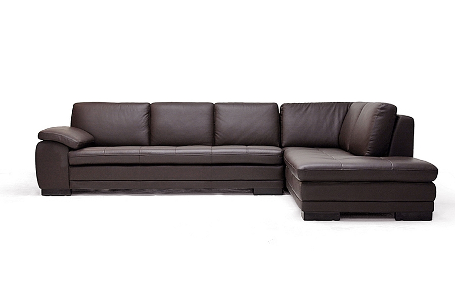 ... Diana Dark Brown Modern Leather Sofa Sectional ...