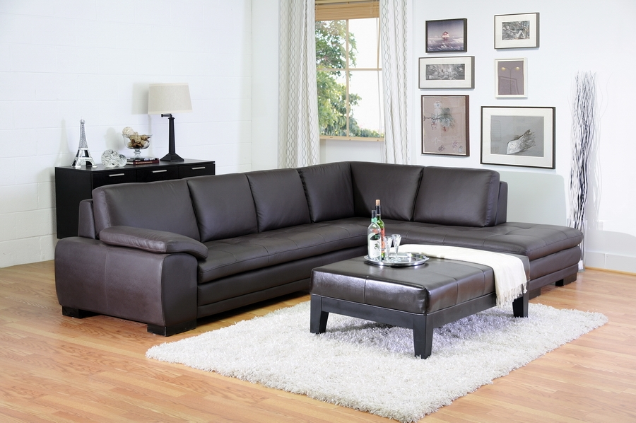 ... Diana Dark Brown Modern Leather Sofa Sectional : modern leather sofa sectional - Sectionals, Sofas & Couches