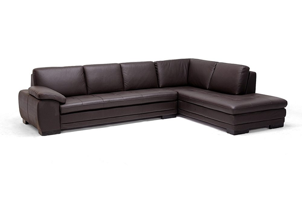 Diana brown leather modern sectional sofa w chaise for Brown leather chaise