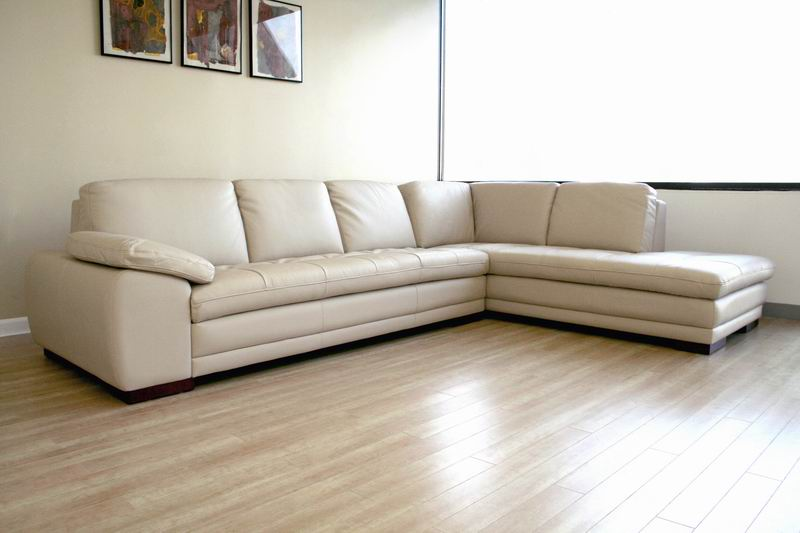 ... Diana Beige Leather Modern Sectional Sofa W/ Chaise   IE625 M9818 ...