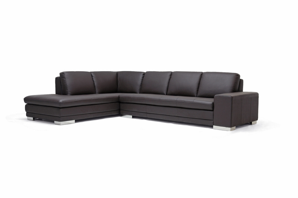 Callidora brown leather sectional sofa with left facing for Brown leather chaise end sofa