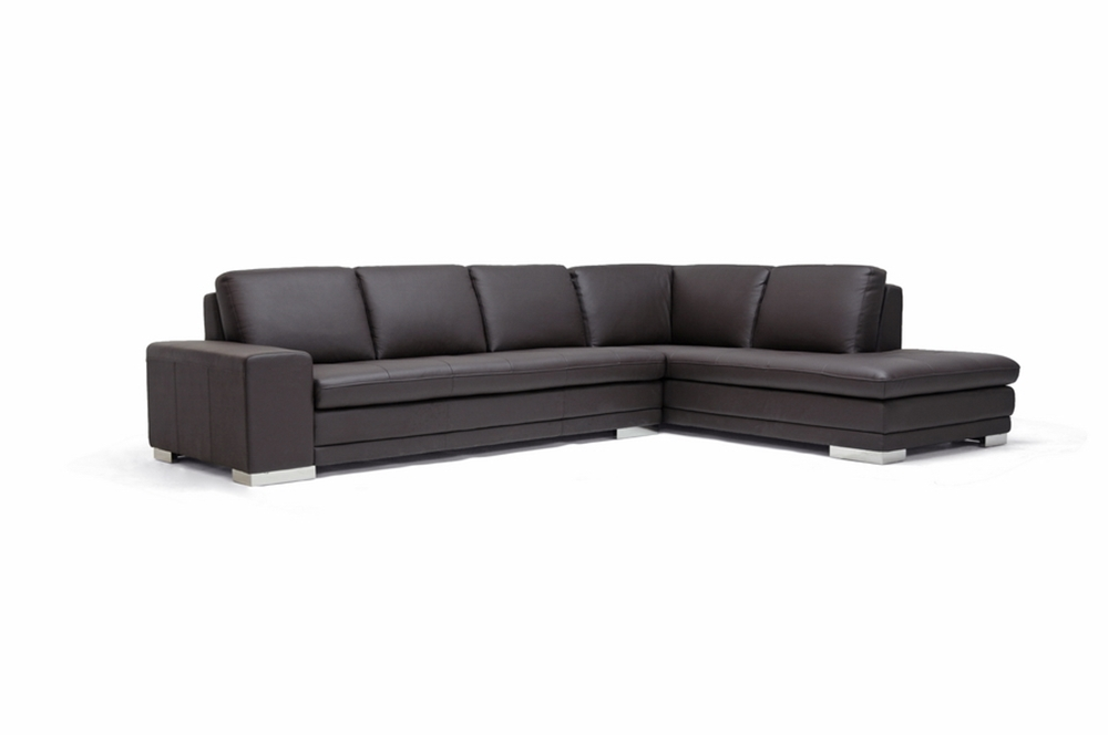 Callidora brown leather sectional sofa with right facing for Brown leather chaise end sofa