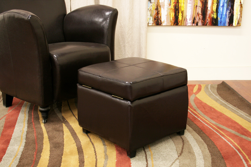 Pandora Brown Leather Small Storage Ottoman With Wood Feet