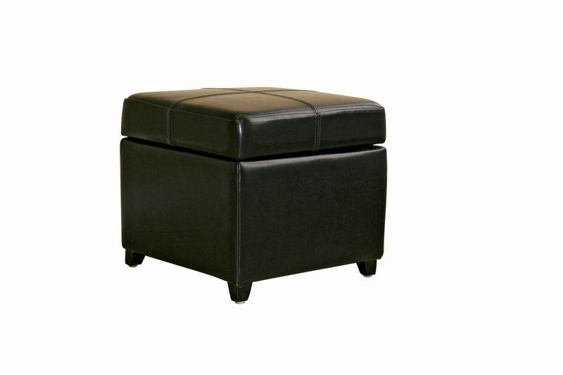 Pandora Black Leather Small Storage Ottoman with Wood Feet