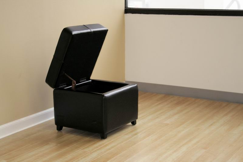 Pandora Black Leather Small Storage Ottoman With Wood Feet