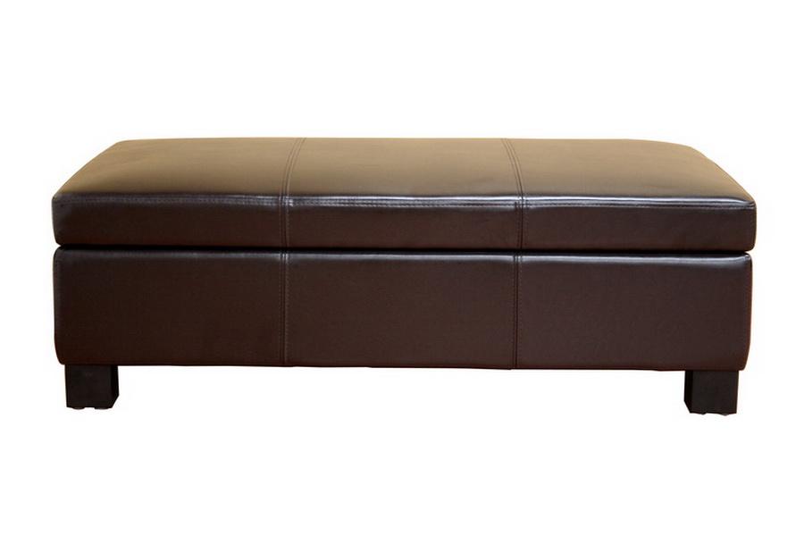 Gallo Dark Brown Leather Storage Ottoman - IEOT12850 ... - Gallo Brown Leather Large Flip Top Storage Ottoman Interior Express