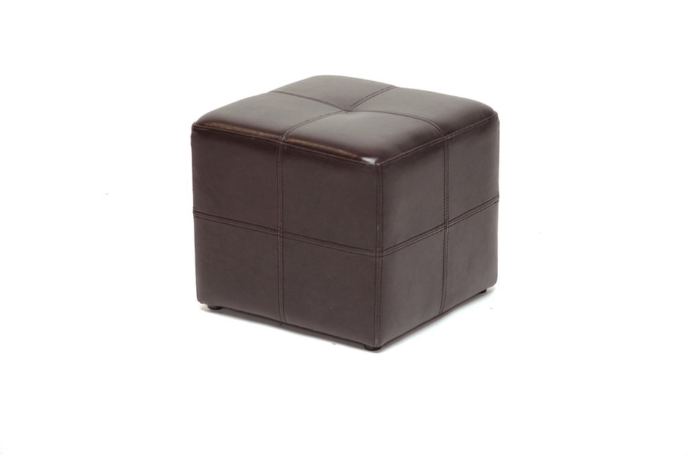 Nox Brown Leather Small Inexpensive Cube Ottoman