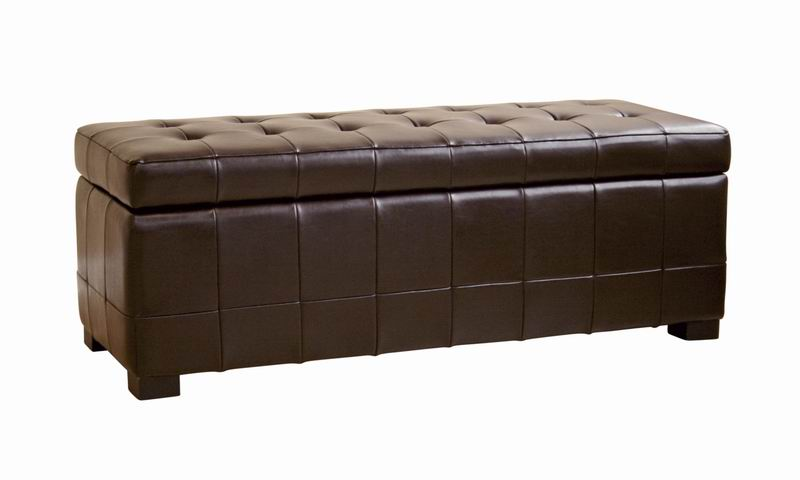 Walter Tufted Leather Storage Ottoman in Brown - Walter Brown Leather Tufted Large Storage Bench Ottoman Interior