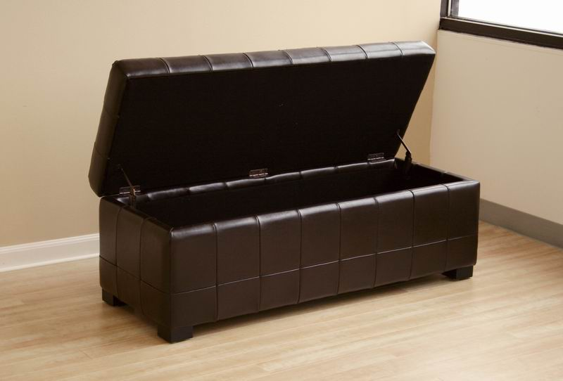 ... Walter Tufted Leather Storage Ottoman in Brown ... - Walter Brown Leather Tufted Large Storage Bench Ottoman Interior